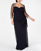 3583986565b XSCAPE Plus Size Embellished Illusion Gown