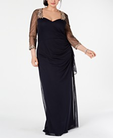 XSCAPE Plus Size Embellished Illusion Gown