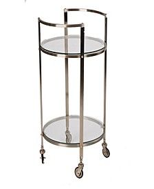 2 Tier Metal Bar Cart with Glass Top