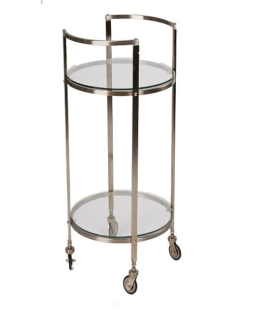 Mind Reader 2 Tier Metal Bar Cart with Glass Top