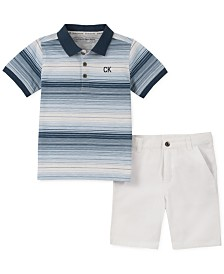 Calvin Klein Baby Boys 2-Pc. Striped Polo Shirt & Twill Shorts Set