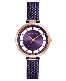 Ladie's Mesh Bracelet with Transparent Dial, 34MM
