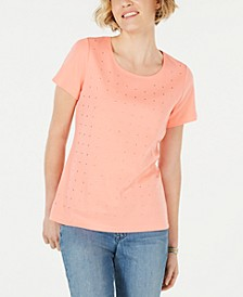 Petite Cotton Star-Stud Top, Created for Macy's