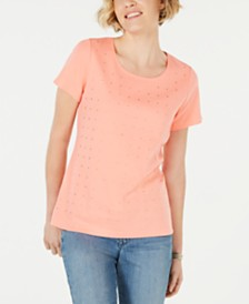 Karen Scott Petite Cotton Star-Stud Top, Created for Macy's