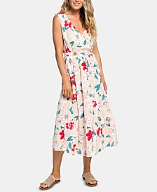 Roxy Juniors' Floral-Print Wrap Midi Dress