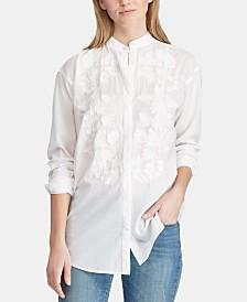 Lauren Ralph Lauren Petite Embroidered Cotton Shirt, Created for Macy's