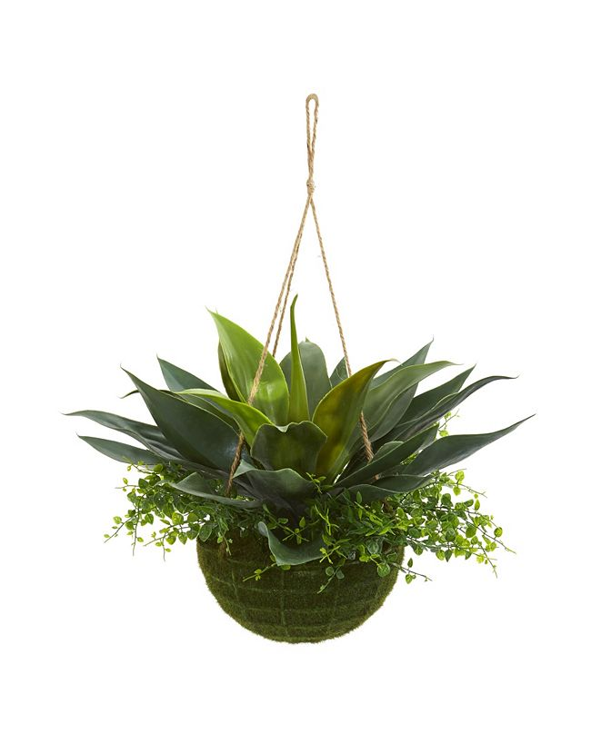 Nearly Natural Agave and Maiden Hair Artificial Plant in Hanging Basket (Indoor/Outdoor)