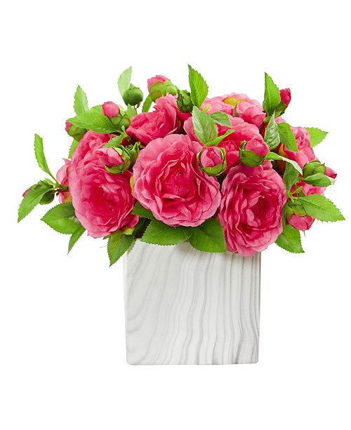 Nearly Natural Camellia Artificial Arrangement in Marble Finished Vase