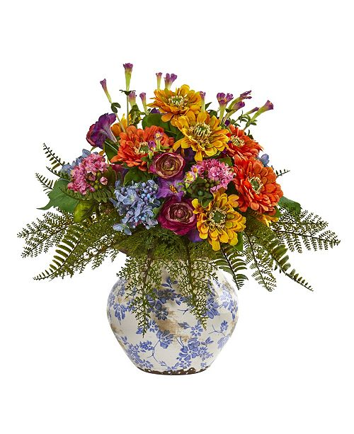 """Nearly Natural 15"""" Mixed Floral Artificial Arrangement in Floral Vase"""