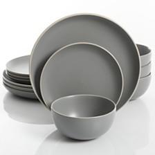 Gibson Rockaway Grey 12-piece Dinnerware Set