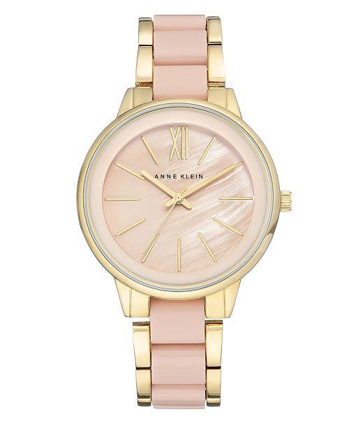 Anne Klein Women's Gold-Tone Blush Link Bracelet Watch 37mm AK-1412BMGB