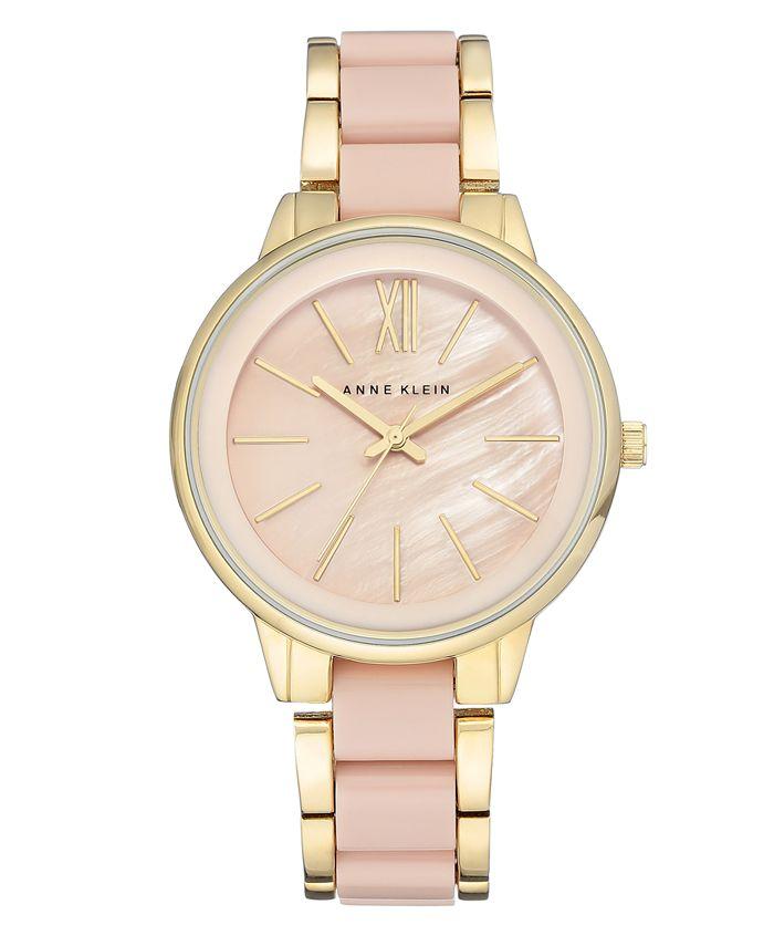 Anne Klein - Women's Gold-Tone Blush Link Bracelet Watch 37mm AK-1412BMGB