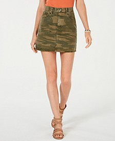 Old Favorite Cotton Camo-Print Mini Skirt
