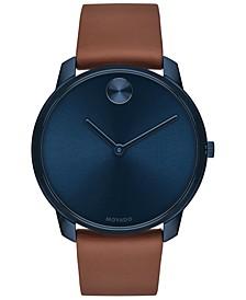 Men's Swiss BOLD Brown Nappa Leather Strap Watch 42mm