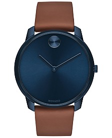 Movado Men's Swiss BOLD Brown Nappa Leather Strap Watch 42mm