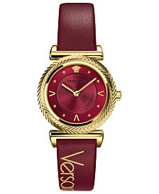 Versace Women's Swiss V-Motif Vintage Logo Red Leather Strap Watch 35mm