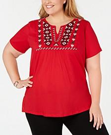 Plus Size Embroidered Split-Neck Cotton Top