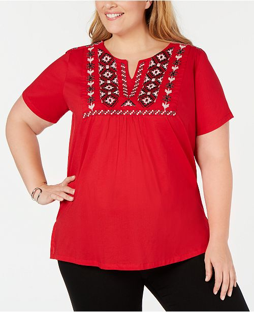 NY Collection Plus Size Embroidered Split-Neck Cotton Top