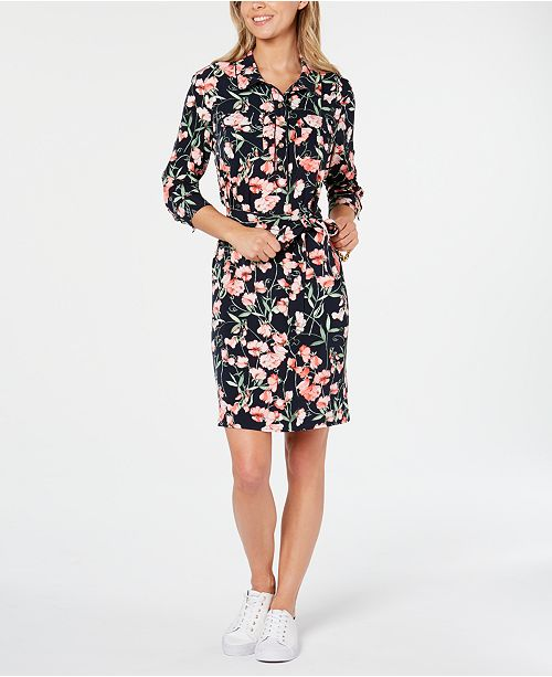 Tommy Hilfiger Floral-Print Long-Sleeve Dress, Created for Macy's