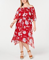 fc41cc1441 Tommy Hilfiger Plus Size Off-The-Shoulder Peasant Dress