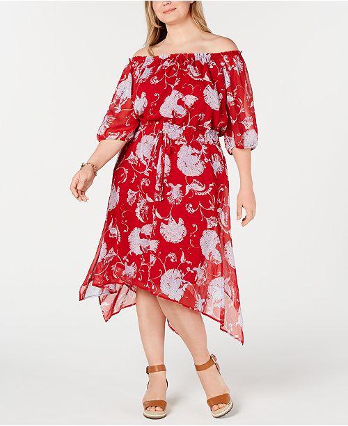 Tommy Hilfiger Plus Size Off-The-Shoulder Peasant Dress ...