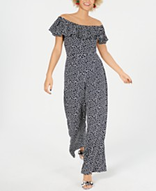 Betsey Johnson Petite Off-The-Shoulder Polka Dot Jumpsuit