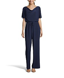 John Paul Richard Dark Blue Drape Neck Jumpsuit