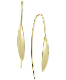 Argento Vivo Polished Marquise Threader Earrings in Gold-Plated Silver