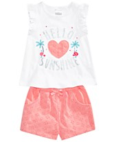 c4540f811 First Impressions Baby Girls Striped Tunic, Graphic Top & Eyelet Shorts  Separates, Created for