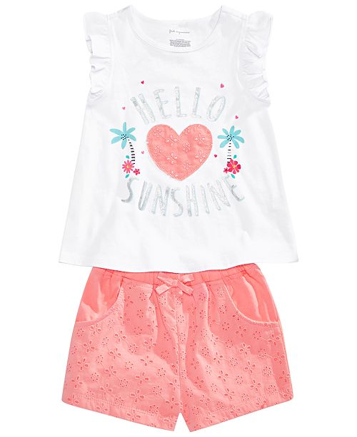 First Impressions Baby Girls Striped Tunic, Graphic Top & Eyelet Shorts Separates, Created for Macy's