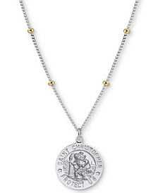 "St.Christopher Medallion 18"" Pendant Necklace in Sterling Silver and Gold-Plate"
