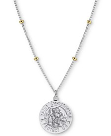 "Argento Vivo St.Christopher Medallion 18"" Pendant Necklace in Sterling Silver and Gold-Plate"