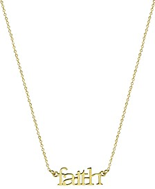"""Faith"" Pendant Necklace in Gold-Plated Sterling Silver, 16"" + 2"" extender"