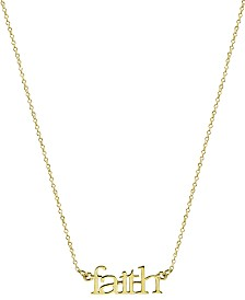 "Argento Vivo ""Faith"" Pendant Necklace in Gold-Plated Sterling Silver, 16"" + 2"" extender"