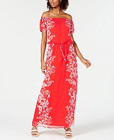 City Studios Juniors' Off-The-Shoulder Printed Maxi Dress