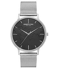 "Men's Stainless Steel Mesh Bracelet, Dial and ""World"" Etch On Dial, 42MM"