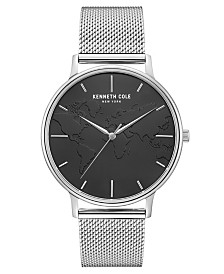 """Kenneth Cole New York Men's Stainless Steel Mesh Bracelet, Dial and """"World"""" Etch On Dial, 42MM"""
