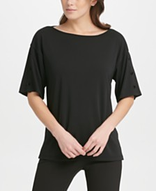 DKNY Button-Sleeve Top