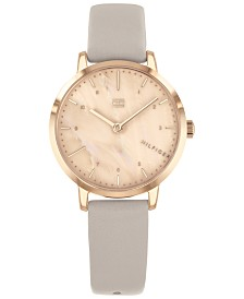 Tommy Hilfiger Women's Gray Leather Strap Watch 30mm, Created for Macy's
