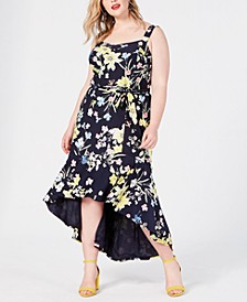Trendy Plus Size Floral High-Low Dress