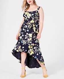 RACHEL Rachel Roy Trendy Plus Size Floral High-Low Dress
