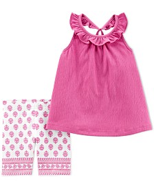 Carter's Toddler Girls 2-Pc. Criss-Cross Crinkle Top & Printed Shorts Set