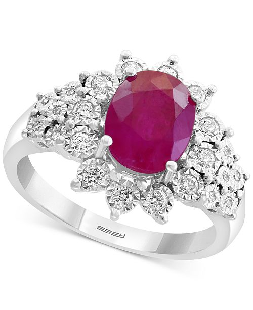 EFFY Collection EFFY® Certified Ruby (1-9/10 ct. t.w.) & Diamond (1/4 ct. t.w.) Ring in 14k White Gold
