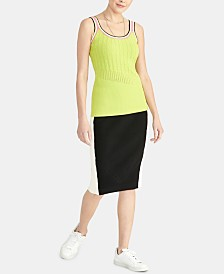 RACHEL Rachel Roy Norma Mixed-Stitch Sleeveless Sweater