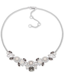 "Givenchy Silver-Tone Crystal & Imitation Pearl Collar Necklace, 16"" + 3"" extender"