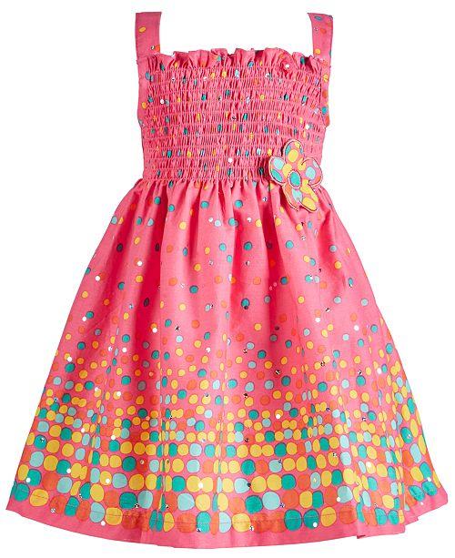 Blueberi Boulevard Baby Girls Dot-Print Smocked Cotton Sundress