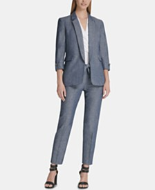 DKNY Roll-Tab Blazer, Ruched Top & Skinny Pants