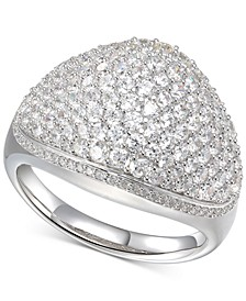 Cubic Zirconia Pavé Dome Ring in Sterling Silver