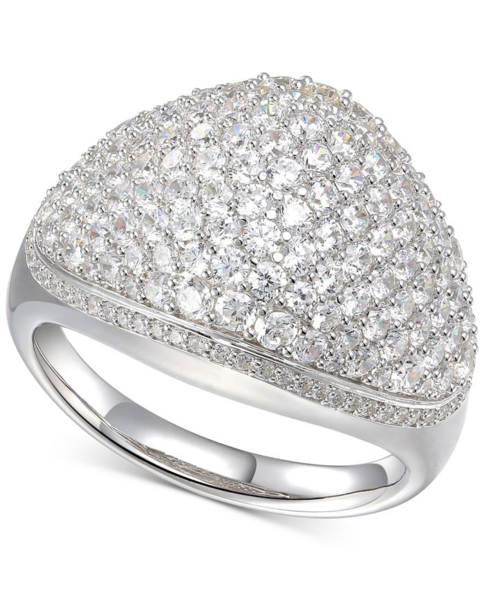 Macy's - Cubic Zirconia Baguette Cluster Halo Ring in Sterling Silver