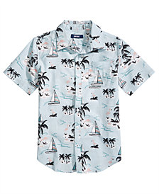 Univibe Big Boys Marina Regular-Fit Tropical-Print Shirt